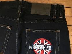 Love Moschino British Flag Dark Navy Blue Stretch Denim Jeans S 44 27 Tequila