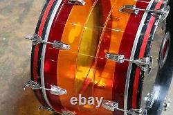 Ludwig 14x22 Vistalite Bass Drum Tequila Sunrise Vintage 1970's
