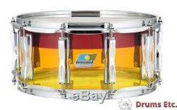 Ludwig Vistalite 6.5x14 Tequila Sunrise finish with Blue/Olive Badge LS903VXXT