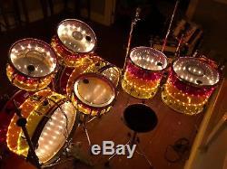 Ludwig Vistalite Tivoli 7 piece Drum Set Tequila Sunrise