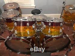 Ludwig Vistalite Tivoli 7 piece Drum Set Tequila Sunrise Vintage Classics 1970's