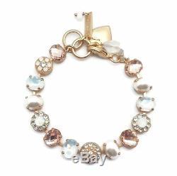 MARIANA 2102 Tequila Sunrise Swarovski Gold Bracelet White & Peach Oval Mosaic