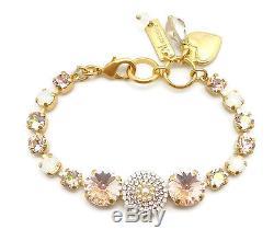 MARIANA Gold Swarovski Bracelet Jonquil AB & Silk Rivoli 2102 Tequila Sunrise
