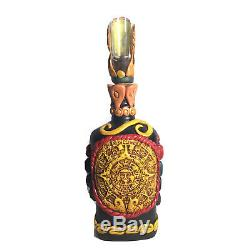 Mexican Aztec Warrior Tequila Bottle Teotihuacan Shot Glass Obsidian Stone Art