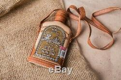 Mexican Descorriado Reposado Empty Tequila Leather Glass Bottle 250 ML Rare