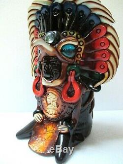 Mexican Folk Art Teotihuacan Tequila Bottle Barware Aztec Stone Obsidian 17