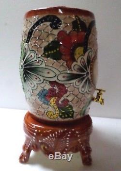 Mexican Talavera Pottery Bar Barware Tequila Barrel Bottle Crock Dispenser 15