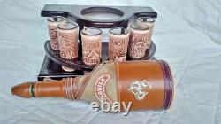 Mexican leather Western Barware Tequila Cow Bull Decanter 6 Shot Glass Set wood