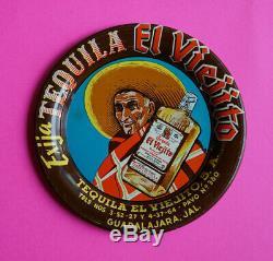 Mexican vintage tip tin tray TEQUILA El Viejito Guadalajara Jalisco 1950s
