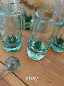 Mexico Blown Glass Tequila Agave Shot Set of 6 And Decanter RARE