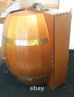 Mid Mod Vintage Wood Barrel Bar Man Cave Whiskey Barrel Tequila Rum Wall Mount