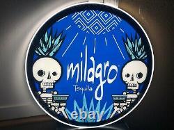 Milagro Tequila Led Bar Sign Man Cave Garage Decor Light Skull