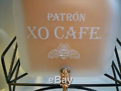 NEW Patron Tequila XO Cafe Frosted Glass Drink Dispenser Large With Spigot RARE