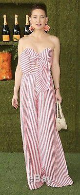 NWT $1,100 Johanna Ortiz Tequila Red And White Striped Linen Pants Size XS/2