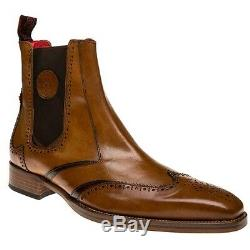 New Mens Jeffery West Tan JB 18 Leather Boots Chelsea Lace Up