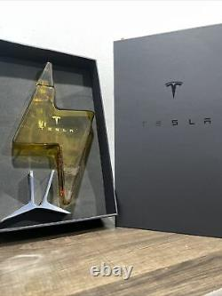 New Tesla Tequila Lightning EMPTY Bottle Decanter With Stand and Box Collectible