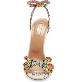 Nw Auth Aquazzura Tequila Rainbow Crystal Beige Leath Sandals Sz35ret$1350wow