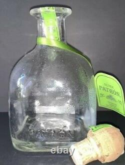 Patron Silver Tequila Empty Numbered Bottle Decanter 375 ml Cork