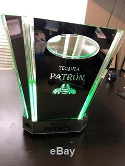 Patron Tequila Chrome Lighted 2 Bottle Ice Bucket Extremely RareLED With Charger