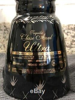 RARE Clase Azul Ultra Extra Anejo Tequila Blk/Slv/Plt/Gld Bottle (EMPTY) with case