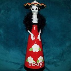 RARE LA CATRINA CERAMIC Skeleton Bottle Decanter LIMITED Kah tequila skull 14in