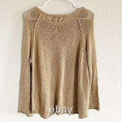 RARE Wooden Ships Tacos & Tequila Knit Sweater Pullover Brown Tan Sz S/M