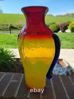 Rare Blenko Tequila Sunrise Face Vase