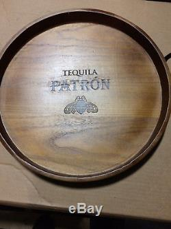 Rare Patron Tequila Wooden Round Serving Tray With Handles Free Shipping