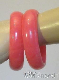 Rare pair TEQUILA SUNRISE BAKELITE BANGLES hot pink bracelets 3/4 wide TESTED