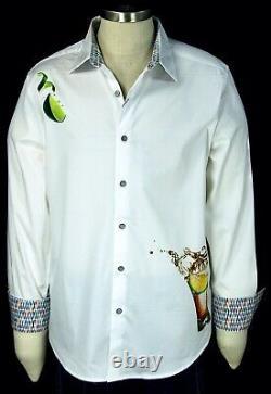 Robert Graham Tequila NWT White Lime & Cocktail Motif Sport Shirt 2XL