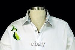 Robert Graham Tequila NWT White Lime & Cocktail Motif Sport Shirt 3XL