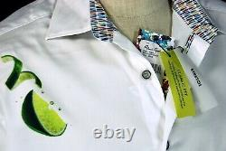 Robert Graham Tequila NWT White Lime & Cocktail Motif Sport Shirt Large