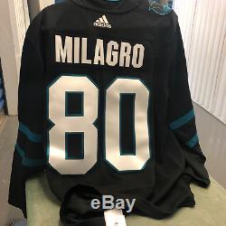San Jose Sharks Official Adidas #80 Milgaro Tequila Jersey Size 54 BRAND NEW