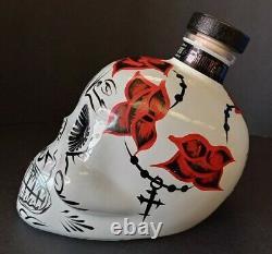 Sangre De Vida Tequila Handpainted White /Red Rose/ Rosary Bottle (Empty)