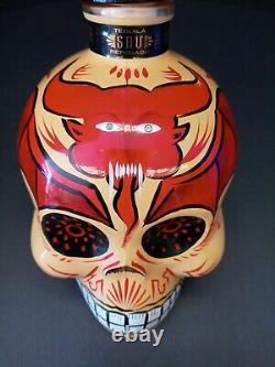 Sangre De Vida Tequila Handpainted YellowithRed Devil Skull Bottle (Empty)