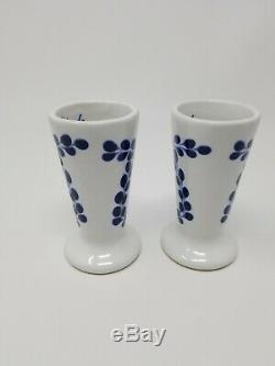 Set of 2 Clase Azul Hand Painted White Blue Tequila Snifter Shot Glass 4