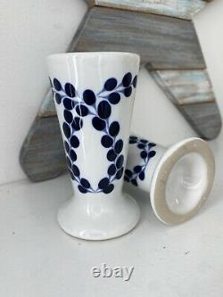 Set of 2 Clase Azul Hand Painted White Blue Tequila Snifter Shot Glass 4 NEW