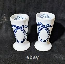 Set of 2 Tequila Clase Azul Hand Painted White Blue Shot Glass 4