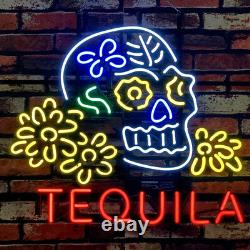 Skull Tequila Real Glass Neon Signs Decor Wall Garage Beer Bar Light 24x20