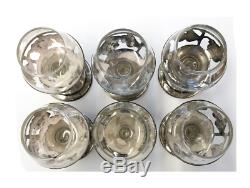 Sterling Silver Floral Tequila / Liquor Glasses Set of 6