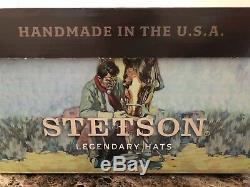Stetson + Kingsman Tequilas Statesman Leather Trimmed Felt Cowboy Hat Size 7 3/4