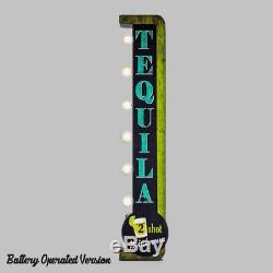 TEQUILA 2 Shot Minimum Plug-In Battery Double Sided Cocktails Metal Marquee Sign