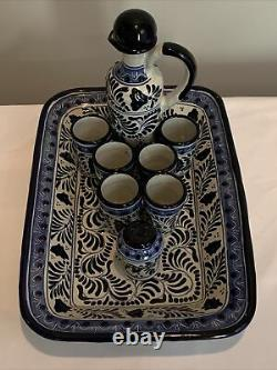 Talavera Tequila Set Wall Hang Platter, Decanter, 6 Shot Glasses, Salt Shaker
