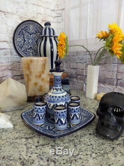 Talavera tequila set, tequila decanter, decanter, custom shot glasses CM177