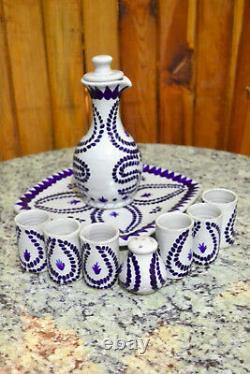 Talavera tequila set, tequila decanter, decanter custom shot glasses, CM197