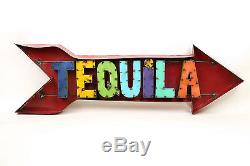 Tequila Arrow Sign-Recycled Metal-Restaurant Bar-Man Cave-50x15x3 in -Large