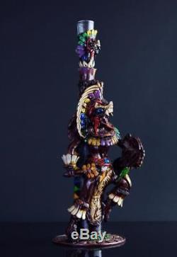 Tequila Bottle Obsidian Stone Jaguar Warrior Aztec Mayan Calendar with Shot Glass