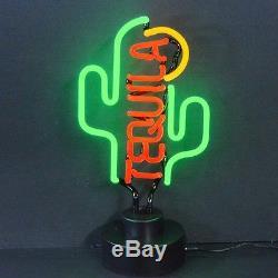 Tequila Cactus Neon Sculpture Western Bar 1800 sign hand blown glass lamp