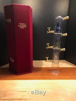 Tequila Casino Azul Limited Edition Decanter Glass Bottle with Red velvet Case