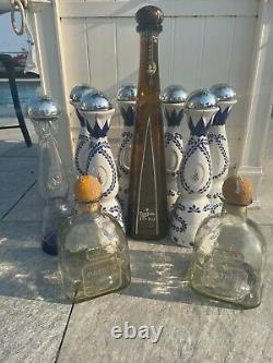 Tequila Empty Bottle Bundle Clase Azul, Don Julio 1942, Patron. 10 Bottles